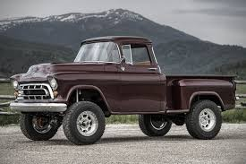lifted corvette 1957 chevy napco truck has been restored with a corvette engine
