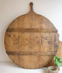 antique french large round breadboard with writing