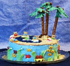 feeding frenzy tropical pool cake beach cake