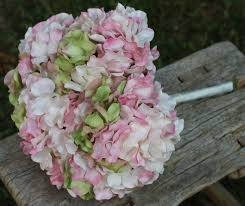 hydrangea wedding bouquet custom color bead centers and glass