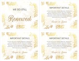 vow renewal cards congratulations free gold floral vow renewal invitation