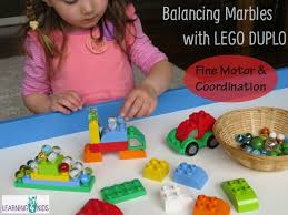 duplo preschool play table balancing marbles with duplo learning 4 kids
