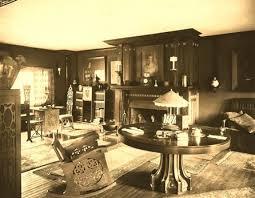 living room of furniture maker charles rohlfs home on park street