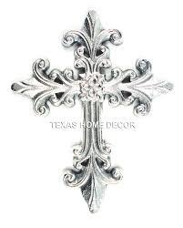 pewter fleur de lis decorative wall cross metal silver color 8 5x