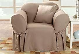 Sure Fit Club Chair Slipcovers Amazon Com Sure Fit Cotton Duck Chair Slipcover Linen
