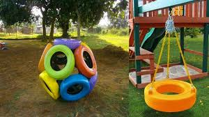 Creative Backyard Playground Ideas Boost Your Ideas Of Old Tires Car With Colorful Paint On A