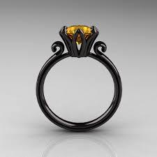 citrine engagement rings 14k black gold 1 5 ct citrine designer engagement ring ar127 14kbgci