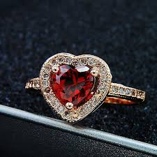 heart shaped engagement ring ruby gold plated heart shaped engagement ring evermarker