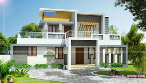 Arabian Model House Elevation Kerala Contemporary House Plans Flat Roof Modern Home Design Kevrandoz