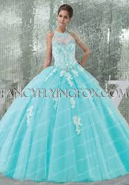 quinceanera dresses coral high collar halter neckline blue quinceanera dress with