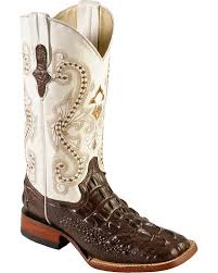 womens size 11 square toe cowboy boots ferrini hornback caiman print boots wide square toe