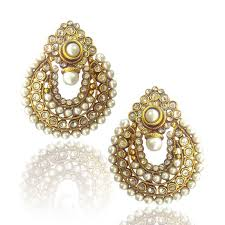 ear rings photos buy beautiful white pearl polki earrings by adiva pceaz001wh online