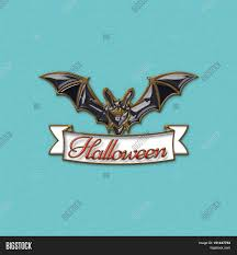 bats with red eyes 3d illustration of bat and a white ribbon with