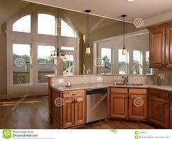 model luxury home interior kitchen arch window royalty free stock