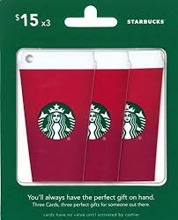 amazon com starbucks gift cards red cup multipack of 3 15