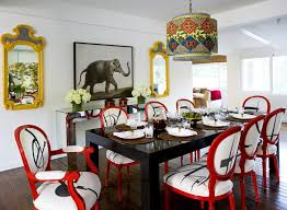 red dining room table and chairs interior design