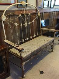 antique iron bed u0026 reclaimed wood made into a bench barnwood