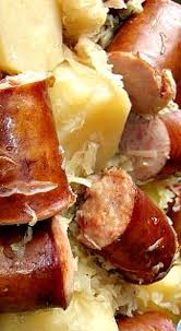 Main Dish Crock Pot Recipes - crock pot sausage sauerkraut and potatoes super comfort food