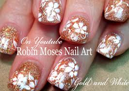 thanksgiving nail art tutorial white flowers on gold glitter wedding 281 29 jpg