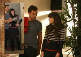 zooey deschanel new girl fashion wwzdw what would jess s black white and red striped sweater from new girl wwzdw