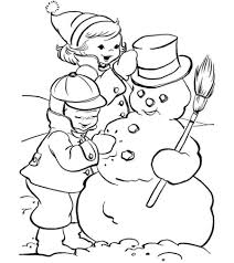 kids making snowman coloring pages winter winter coloring pages