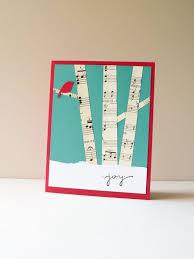 christmas card handmade card holiday greeting card birch