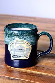 modern mug woodwaves coffee mug handmade pottery tall belly midnight u0026 hunter