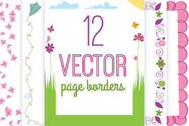 cheerful spring page borders vector 8 5x11 instant