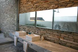 style small with brick stone fireplace bathroom rustic stone