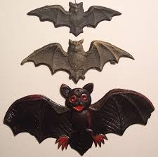 3 vintage german halloween diecut bats