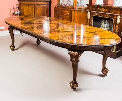 antique bur walnut queen anne style dining table c1920
