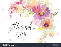 thank you flowers watercolor greeting card flowers handmade thank stock vector