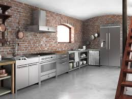 brick wall stainless steel kitchen cabinets brick walls