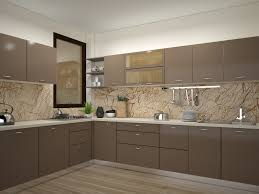 Kitchen Modular Design Brown Mosaic Narrow L Shaped Modular Kitchen Design For Indian Homes