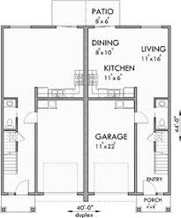 3 Bedroom Floor Plans With Garage Upper Floor Plan For D 599 Duplex House Plans 2 Story Duplex