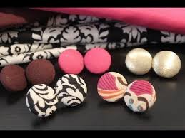 make your own earrings studs diy fabric button earrings