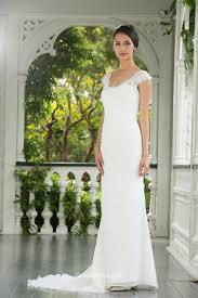 modest mermaid cap sleeves backeless lace chiffon wedding dress