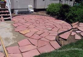 Slate Rock Patio by This Grandmother U0027s Garden A Giant Puzzle Part Two Of Our Diy