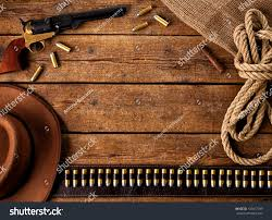 Wooden Table Western Accessories On Wooden Table Stock Photo 133817399