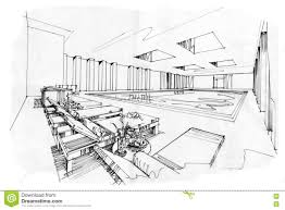 sketch interior perspective swimming pools black and white