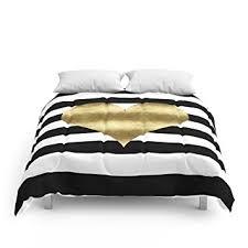 Black And White Comforter Full Amazon Com Society6 Gold Heart Black And White Stripe Comforters