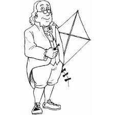 Benjamin Franklin With Kite Coloring Page Franklin Coloring Pages