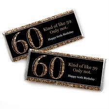 60th birthday party favors 60th birthday gold candy bar wrappers birthday party