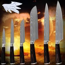 products six piece set kitchen knives laser damascus pattern