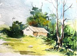 Painting Of House by Easy Landscape Painting With Watercolor Watercolor Painting For