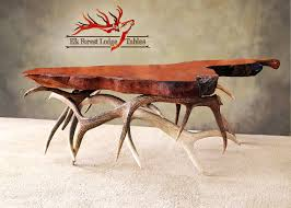 Antler Table L Rustic Elk Forest Lodge Tables Elk Antler Coffee Table With A