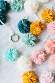 Homemade Pom Pom Decorations Festive Pom Pom Garland Diy Jojotastic