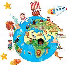 Map Of Globe Cartoon Map Of World Stock Vector Art 535467176 Istock