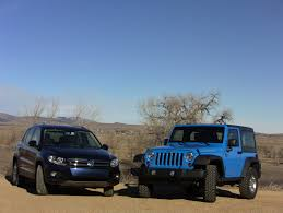 white and teal jeep 2012 volkswagen tiguan vs jeep wrangler 0 60 mph off road mashup