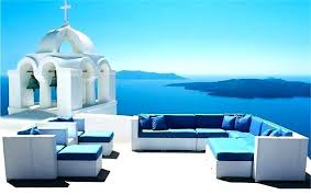 patio furniture with blue cushions round sofa sectional patio